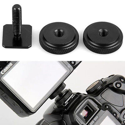 New 1/4 Inch Dual Nuts Tripod Mount Screw to Flash Camera Hot Shoe Adapter Kit