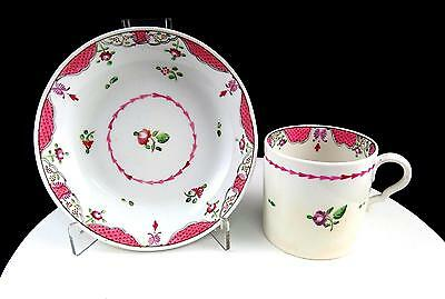 """Staffordshire England Pink Floral And Trellis Antique 2 1/2"""" Cup And Saucer Set"""