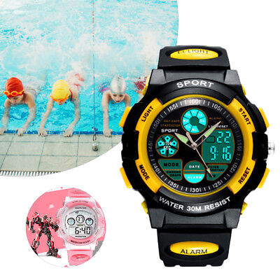 Kids Sport Yellow Watch Outdoor LED Digital Display for Boys Girls Teenagers