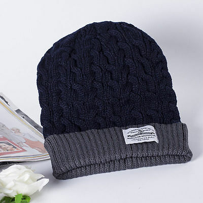 7888f332a32 (Free P P) Mens Warm Navy Golf Beanie with Grey Trim