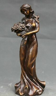 Collectible old Bronze Carve Beautiful Woman Belle Hand-held roses Flower Statue