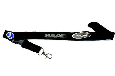 Saab Hirsch Black Lanyard Neck Strap ID Card Keyring Pass Mobile Accessories