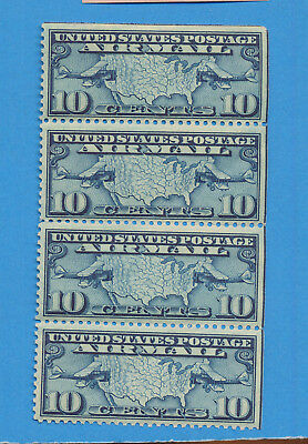 USA - scott C10 strip of four, ten cents Lindbergh air mail - 1927 - SEE NOTE