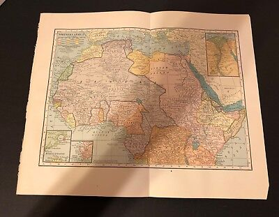 Antique Folding Color Map Copyright 1904 C.S. Hammond Co. of NORTHERN AFRICA
