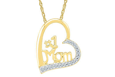 1/10 CTW Mom Heart Pendant 14K Yellow Gold Over Sterling Silver