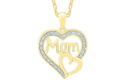 1/10 CTW Heart Pendant 14K Yellow Gold Over Sterling Silver