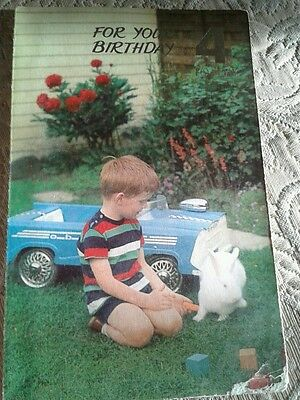 Vintage Birthday Card For 4 Year Old Boy With Car And Rabbit Waldorf Cards