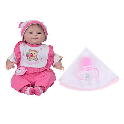 42cm Lovely Reborn Baby Girl Doll w/ Clothes Hat Accs Kids Sleeping Playmate