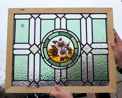 A Wonderful Antique Stained Glass Painted Flower Window