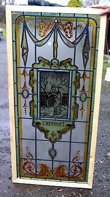 A Truly Stunning Antique Painted Stained Glass Window (winter)