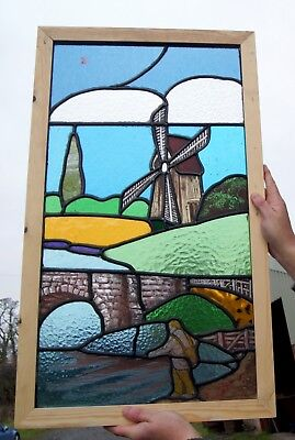 A Great Antique Stained Glass Painted Scene Window