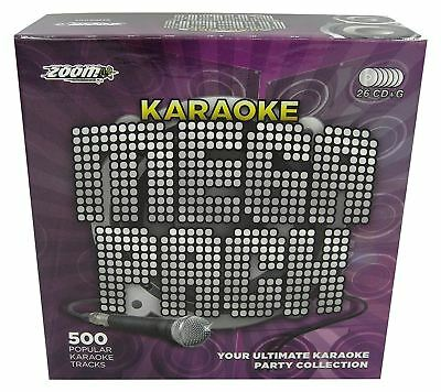 Zoom Karaoke Mega Pack 500 Tracks Songs Box Set - 26 Disc CD + G New Sealed
