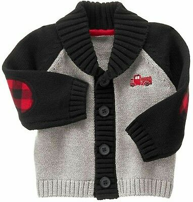 New GYMBOREE Toddler Boys Cardigan, Fire track, Size 6-12 Months