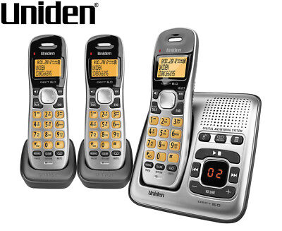 Uniden DECT 1735 + 2 Cordless Digital Phone System w/ Power Failure Backup - Sil