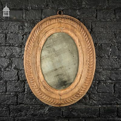 18th C French Oval Plate Mirror with Carved Oak Frame