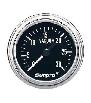 "Sunpro 2"" Retro Vacuum Gauge Black / Chrome Bezel 0-30 Psg New CP7978 Warranty"