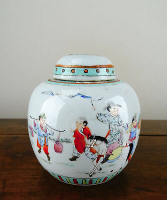 Antique Chinese Porcelain Ginger Jar Vase Famille Rose Qianlong Mark Republic