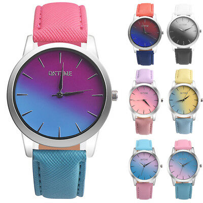 Fashion Women Girl Wrist Watch Rainbow Ladies Leather Band Analog Quartz Gfit