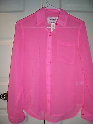 c4e669cd NWT Aeropostale Jr girl's long sleeve pink button down sheer blouse size S