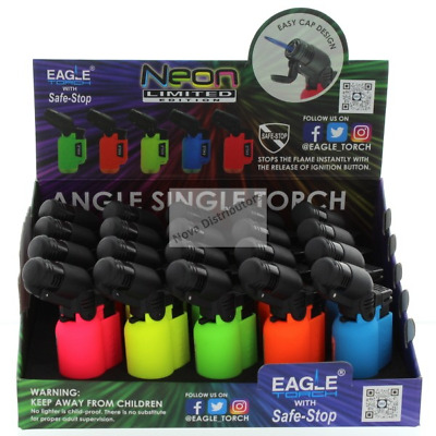 Neon Eagle Angle Single Torch  Lighter W/Safe Stop Jet Flame Butane Refillable