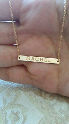 14k Solid Gold Personalized Name Plate Bar Necklace Chain Engravable