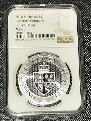 2018 St. Helena Silver £1 East India Company 1oz Coin, NGC MS65 Beautiful Coin