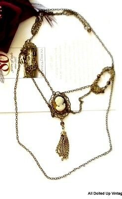 Vintage Victorian Antique Cameo Necklace Multi Chain Fringe Gold Tone Ornate