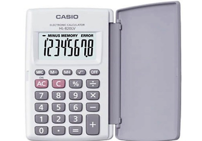 Casio HL-820LV-WE POCKET Electronic Calculator Large Display 8-Digit LCD WHITE