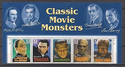 Movie Monsters - Frankenstein, Dracula - Set Of 5 U.s. Stamps - Mint Condition