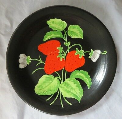 Vintage Hand Painted Black Plate with Strawberries - Italy Made