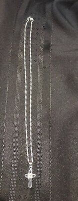 (new)STERLING SILVER Twist NECKLACE WITH SILVER CROSS With Gem Beautiful!!!!