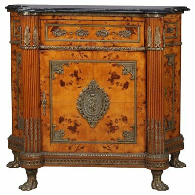 Vintage Italian Neoclassical Burl Walnut, Gilt Castings and Marble Credenza