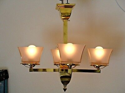 Antique Mission, Arts and Crafts, Bungalow Chandelier, Frosted Glass Shades