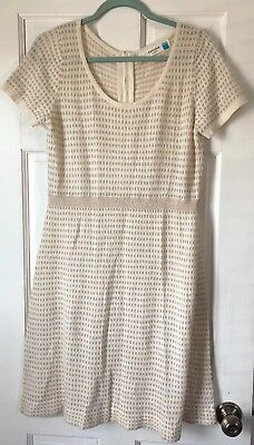 b7555793ec05 SPARROW ANTHROPOLOGIE IVORY Gold Lambswool Gilt Grid Sweater Dress S ...