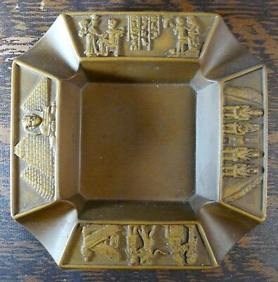 Egyptian Ashtray w/ Hieroglyphs Pyramids Made by Ahmed Zeinhom