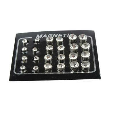 12 Pairs Pretty Round Diamond Magnetic Clip on Stud Earrings 4mm,6mm,7mm