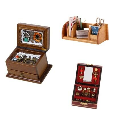 Mahogany Stationery Box Set Miniature Wood Desk Organiser Dollhouse Red Brown