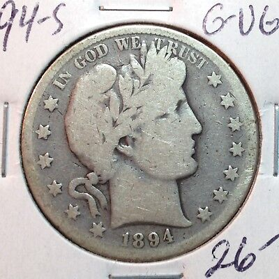 1894-S  G-VG  Barber Half Dollar  Y and part of T   Better Date