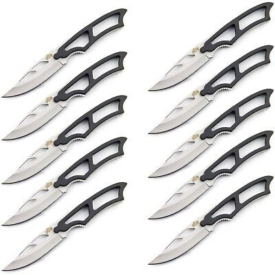 "10 PACK 7"" FIXED BLADE MINI NECKLACE KNIFE w/ LANYARD Boot Wholesale Lot"