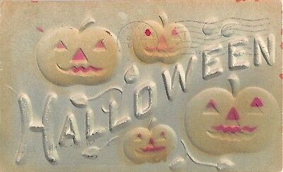 1908 Heavily Embossed Jack O'Lanterns Halloween post card
