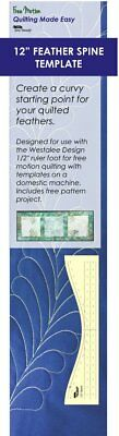 """Westalee Design Feather Spine Quilting Template 10"""" or 12"""""""