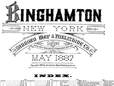 Binghamton,  New York~Sanborn Map©sheets~1887, 1891, 1898~with 120 maps~B/W