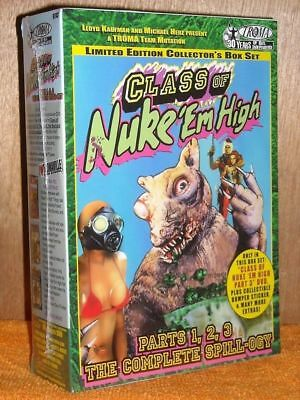 Class Of Nuke Em High Parts 1, 2, 3 The Complete Spill-Ogy (DVD, 1992) NEW cult