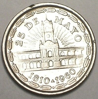 1960 Argentina Argentinian One 1 Peso Anniversary Coin VF