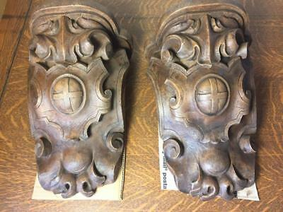 "2 Large 13"" Ornate Plaster Sconces Corbel Shelf Wall Hanging Antiqued Faux Wood"