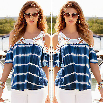 Women Summer Lace Cold Shoulder Tops Blouse Ladies Casual Fashion Loose T Shirt