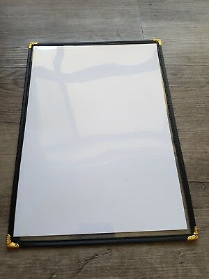 Clear Pvc Menu Covers A4 Black And Gold Trim x 6 cafe restaurant double sided