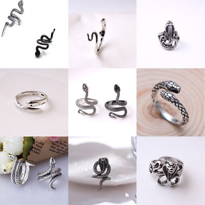 Stainless Steel Silver Fashion Men Punk Snake Ring Cast Jewelry Adjustable Size