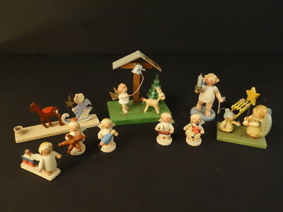 All Original Herzgebirge 9 Handpainted Antique Wooden Angels Christmas Figures