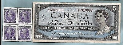 1954 CANADA five 5 DOLLAR BILL NOTE prefix AX circulated with MNH QE II stamps